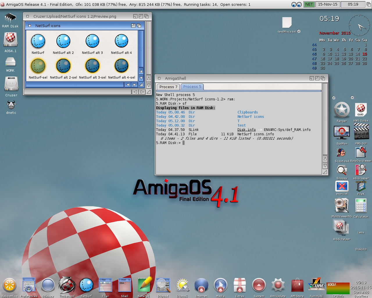 AmigaOS 4.1 FE-NetSurf icons and sf (ShowFiles) in tabbed Shell