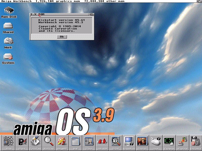 WinUAE with Amiga OS 3.X, 68040, 72 MB memory