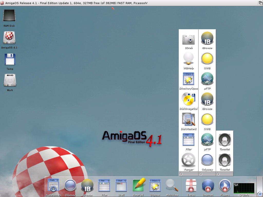 AmigaOS 4.1 FE Update 1 Classic with 382 MB RAM on WinUAE PPC