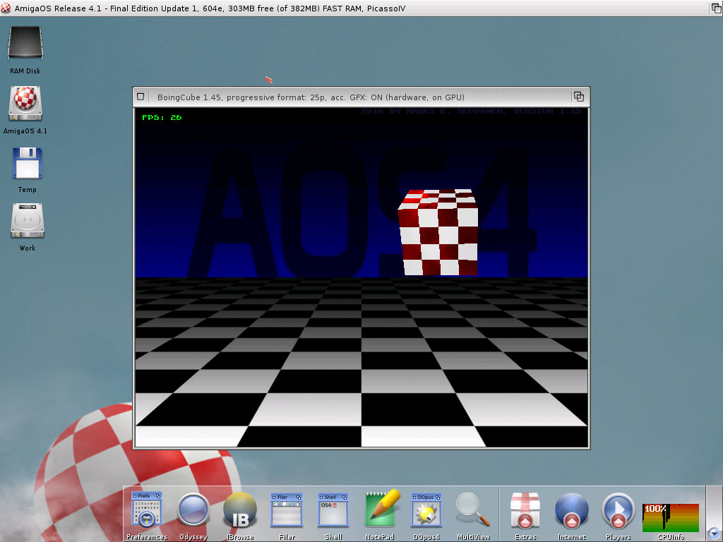 BoingCube in AOS 4.1 FEu1 on WinUAE PPC